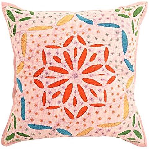 Cojín atractivo rosado coralino individual de moda cubierta de 17x17 Resumen mano bordada fundas de almohada de algodón suave Throw Pillow Por Rajrang