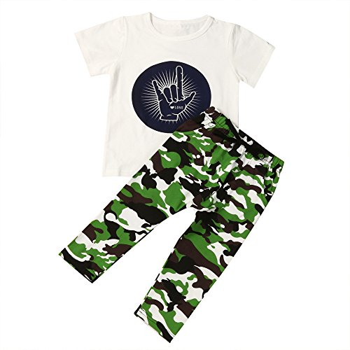 Neugeborene Boy Letter Print Camouflage Hosen Kleider Set (6 Monate-3 jahre By JYJM (Size:2 Jahre, Weiß)
