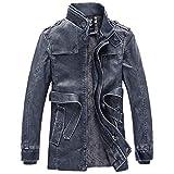 Herren Thermische Lederjacke Winterjacke Mode Männer Herbst Winter warme Freizeit Langarm Pocket Button Dicke Plus SAMT Hochwertig Jacke Coat (4XL, Blau)