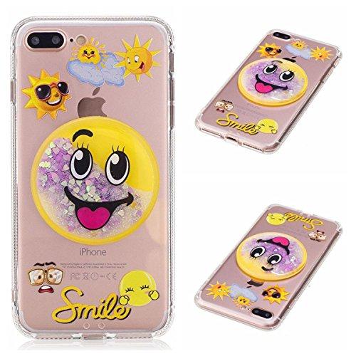 iPhone 6S Bling Hülle, iPhone 6 Glitter Case, Lifetrut [3D Dekorationen] [Flüssigkeit Funkeln] Weiche Transparente Schwimmende Flüssige Glitter Bling Funkeln Case Handyhülle für iPhone 6S 6 [Handtasch E207-Smile