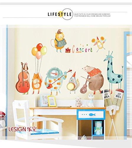 LangToo Cartoon Schlafzimmer Dekorationen Poster Musik Unterricht Korridor niedliche Tiere Wall Sticker