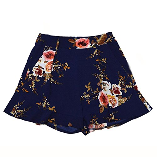 2017 Vovotrade®Women Fashion Skirt Summer Floral Print Short Pants (Navy, L)