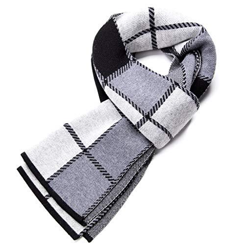ZYN Plaid Series High Grade Men Scarf Thick Winter Warm halten 180cm × 30cm (Farbe : Gray) -