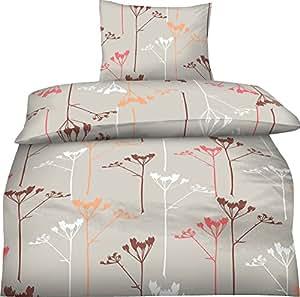 2-Teilig Hochwertige Biber Bettwäsche Nora beige mit Reißverschluss 1x 135x200 Bettbezug + 1x 80x80 Kissenbezug GRATIS 1x SCHAL GRATIS