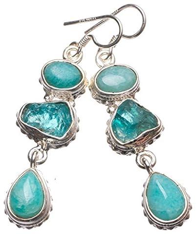 stargems (TM) natur blau Amazonit und gefärbt Kristall Handgefertigt Indian 925Sterling Silber Ohrringe 5,1cm