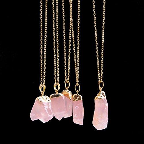 Hevoiok Kette Damen mit Naturstein Kristall Anhänger Reizend Halskette für Damen Kleidung Dekoration (E)