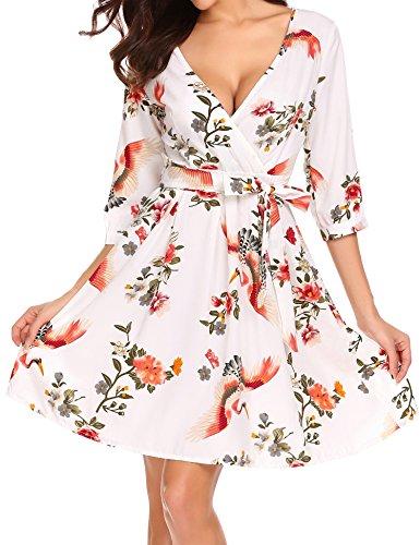 Trudge Damen Elegant V-Ausschnitt Strandkleid Sommerkleid Kleid mit Blumen Cocktailkleid Kleider mit 3/4 Ärmeln Knielänge