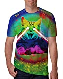 Chicolife Unisex T Shirts mit Bunten Katzen 3D Animation Digital Printing
