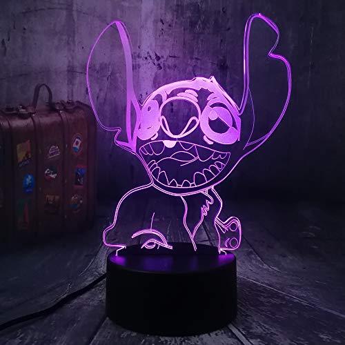 WangZJ Nachtlicht Für Kinder 3d Illusion Nachtlicht / 7 Farbe Licht Für Mädchen Weihnachten/halloween Geburtstagsgeschenk /Happy Stitch (Les Halloween Schlümpfe)