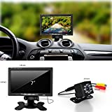 Car Backup Camera and Monitor Kit 7,Waterproof 7' HD Rear View Monitor with IR Night Vision Parking Assistance System for or Truck / Van / Caravan / Trailers