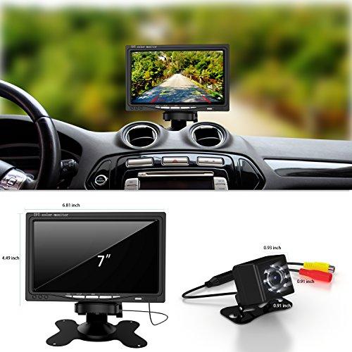Cámara de reserva del coche y Kit de monitor 7, a prueba de agua de 7 'HD Vista posterior del monitor con el sistema de ayuda al aparcamiento visión nocturna por infrarrojos a favor o en camiones / Van / Caravana / remolques
