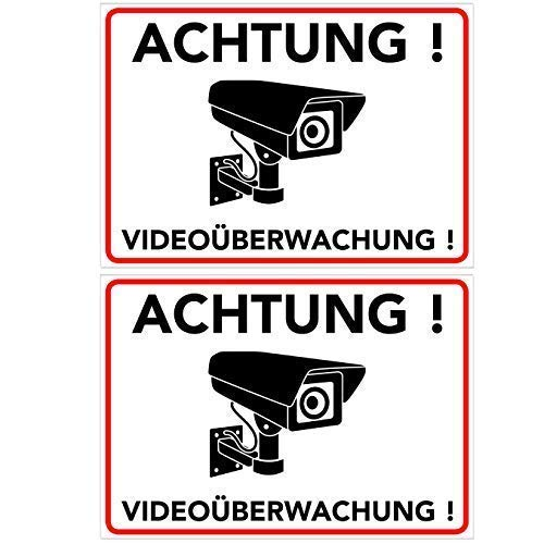 Achtung Videoüberwachung Aufkleber - Schild - Folie - Sticker (Kameraüberwachung - Überwachungskamera - Alarmanlage - Alarmgesichert - Warnschild) Weiss - 2 STK. (14,80 cm x 10,50cm)