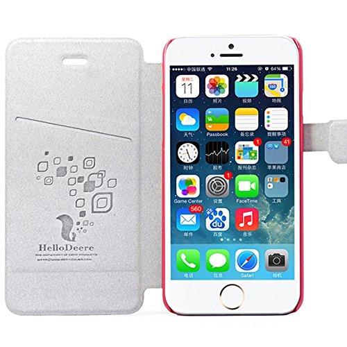 MOONCASE Coque en Cuir Portefeuille Housse de Protection Étui à rabat Case pour Apple iPhone 6 (4.7 inch) Rose Hot Rose