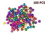 Cdet 100PCS Accessoires de mode sauvages DTY Petits cloches pour Déoration de Noël décoration d'Halloween Couleurs variées 10mm