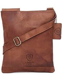 c856f4ab9 J. Wilson London Bolso cruzado de hombro, estilo bandolera, de pura piel  auténtica 100%, vintage, para el día a día,…