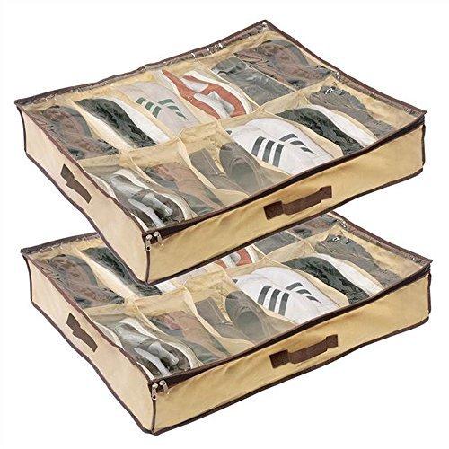 Ardisle 2x 12Paar Schuh Schuhe Aufbewahrung Organizer Tidy Unterbett Box Fächer