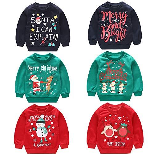 design senza tempo 2091a 019e5 Vovotrade ⚘ Collare Rotondo per Bambini Maglione di Natale, Abbigliamento  per Bambini Ragazzi per Ragazze Manica Lunga Cartone Animato Babbo Natale  ...