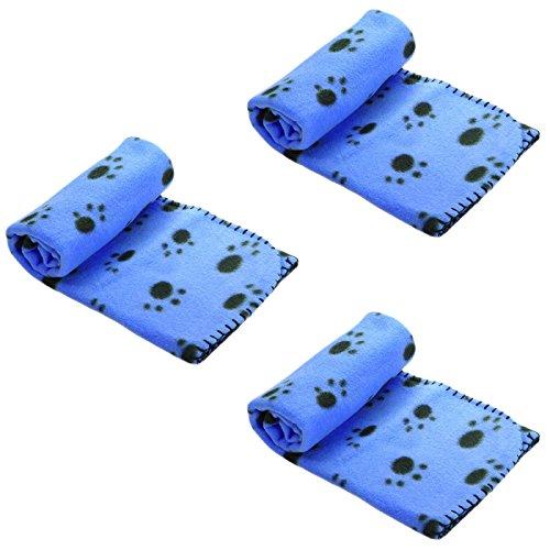 Coperta per cani e gatti, in pile morbido e caldo, colore blu, 3 pezzi