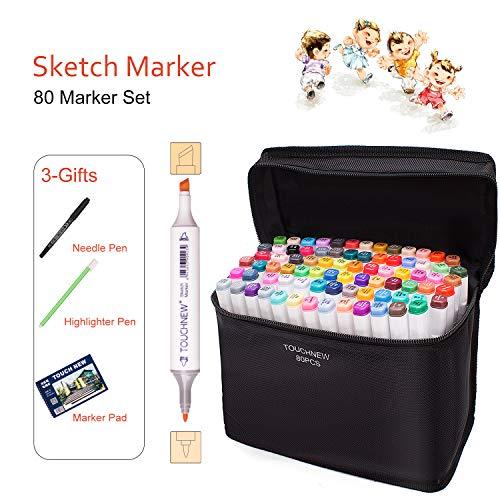 TOUCHNEW Anime Marker Pens, 80 Tinta a Base de Alcohol Art Art...
