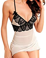 SUNNOW® Womens New Sexy Lingerie Set Deep V-neck Lace Embroidery Babydoll Mini Nightdress Sleepwear With G-string