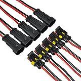 IMAGINE 10 tlg 2 poliger 16 AWG Stecker Steckverbinder Wasserdicht Schnellverbinder IP67 AMP PA66 Nylon Steckdose Set mit Draht (Yellow 2 Pin with Wire)