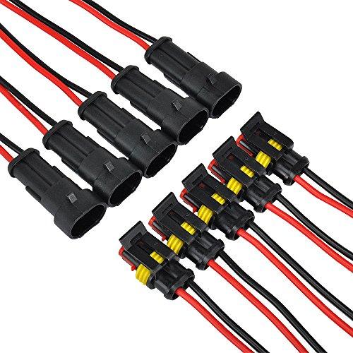 Amp Wire (IMAGINE 10 tlg 2 poliger 16 AWG Stecker Steckverbinder Wasserdicht Schnellverbinder IP67 AMP PA66 Nylon Steckdose Set mit Draht (Yellow 2 Pin with Wire))