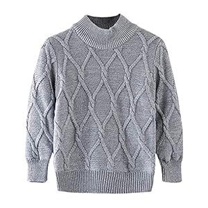 Yying Kinder Strickpullover Unisex Pullover für Jungen & Mädchen Langarm Schmale Passform Strickwaren Einfarbig Casual…