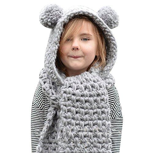 Personalisierte Stricken Hut (Dragon868 Schal Baby, Wolle gestrickt Double Ball Hüte Mädchen Schals mit Kapuze Cowl Beanie Schal Kinder Schal (Grau))