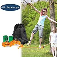 Bonnlo Extra Longer 20M Slackline Kit, Upgraded Slacklining with Training Line, Ratchet, Ratchet Protector, Tree Protector, Perfect Arm Trainer for Kids and Adults