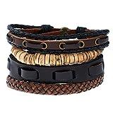 Cosanter Herren Armbänder Retro Stil Mehrschichtiges Leder Seil Gewebt Einstellbare Länge, Braun-C