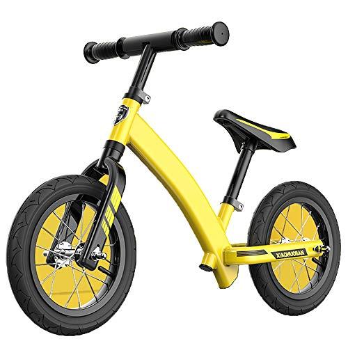 YUMEIGE Laufräder Leichtes Laufrad mit aufblasbarem Gummirad für 2-5 Jahre alte Kleinkinder Laufrad für Kraftfahrzeuge Lack ohne Pedal Lernen Sie, 4 Farben zu Fahren (Color : Yellow)