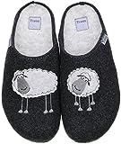 TOFEE Damen Hausschuhe Pantoffeln Naturwollfilz (Schafe) anthrazit, Größe:40, Farbe:Anthrazit