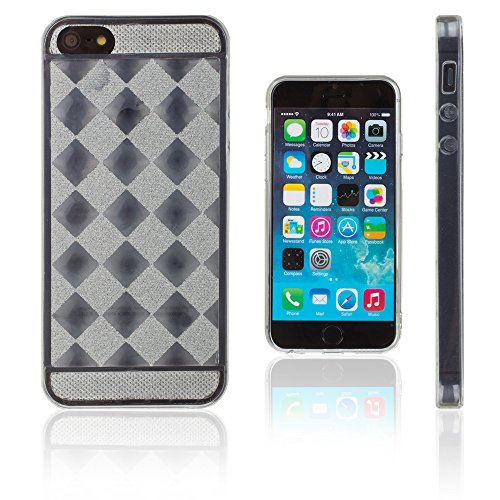 Xcessor Checkered Diamond Diamante Lucido Flessibile TPU Gel Custodia per Apple iPhone SE / 5 / 5S. Trasparente