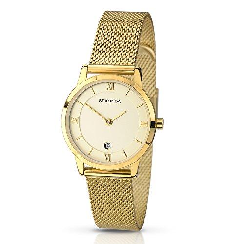 SEKONDA 2103.27 - Reloj de cuarzo para mujeres, correa de acero inoxidable,...
