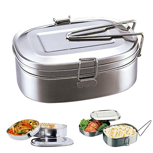 ZqiroLt Küche liefert, Doppel-Lagen Bento Lunch-Box Student Stainless Steel Food Storage Container-Extra Large