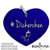 Pferde Glücksmarke #Dickerchen Blau – Gücksbringer - Soulhorse Anhänger Halfter, Trense, Zaumzeug, Sattel, Vorderzeug