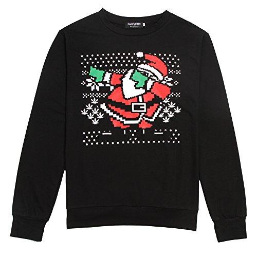Wangyue Herren Hässliche Weihnachts-Serie Weihnachtsmann-Druck Pullover Schwarz (Hässliche Anzug Pullover)