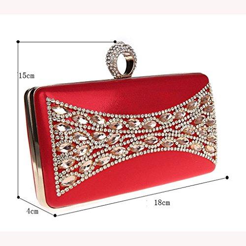 Il nuovo anello di diamanti mini pochette banchetto pacchetto del sacchetto di sera di modo vestito bag sposa ( Colore : Nero ) Silver