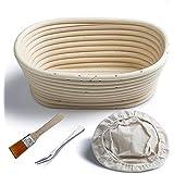 Banneton Panier à l'21 cm ovale Banneton Brotform pâte pour pain et brosse sans [500g de pâte] l'Imperméabilité se lever en rotin Bol + sans Premium + Fourchette à pain sans
