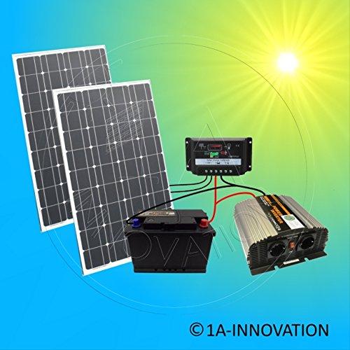 Komplette 220V Solaranlage TÜV Qualitäts- Akku wartungsfrei + 200 Watt Hochleistungs- Solarmodule...