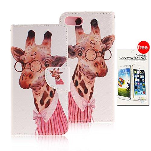 AllDo iPhone 7 Hülle PU Leder Hülle Standfunktion Schutzhülle Brieftasche Schale Mappen Kasten Klapp Handyhülle Flip Wallet Case Cover Weiche Schlanke Etui Leichte Tasche Flexible Lederhülle Ultradünn Leichte Giraffe