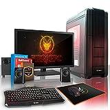 Fierce VULTURIS 16 Gaming PC Bundeln - Schnell 4 x 3.8GHz Quad-Core AMD Athlon X4 950, 120GB Solid State Drive, 1TB Festplatte, 16GB von 2400MHz DDR4 RAM / Speicher, NVIDIA GeForce GTX 1060 3GB, ASUS AM4 PRIME A320M-K Hauptplatine, Schwarz Computergehäuse/Rot Fans, HDMI, USB3, Wi - Fi, Perfekt für Wettkampfspiele, Windows 10 installiert, Tastatur (VK/QWERTY), Maus, 21.5-Zoll-Monitor, Lautsprecher, 3 Jahre Garantie 227833