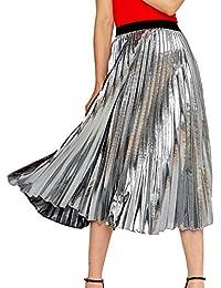 Shengwan Falda Plisada Larga para Mujer Color Brillante Cintura Alta Faldas  de Playa db54934af725