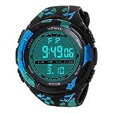LCLrute Mode Hohe Qualität Art und Weise wasserdichte Männer Boy LCD Digital Stoppuhr Datum Gummi Sport Armbanduhr (D)