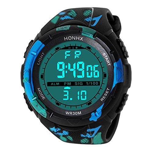 LCLrute Mode Hohe Qualität Art und Weise wasserdichte Männer Boy LCD Digital Stoppuhr Datum Gummi Sport Armbanduhr (D) (Datum Füllen)