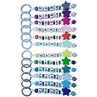 Schlüsselanhänger mit Namen Gravur beschriftbar | Baby Kind Kindergartentasche Schultasche Rucksack Schlüsselring mit Name Namensanhänger | STERN FARBMIX
