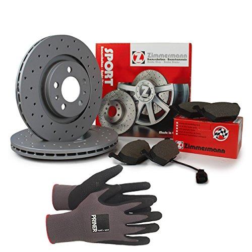 Preisvergleich Produktbild Inspektionspaket Zimmermann Sport Bremsen Set inkl. Bremsscheiben Ø 280 mm und Bremsbeläge für vorne enthalten,  100% passend für Ihr Fahrzeug,  inkl. Priner Montagehandschuhe,  AN146