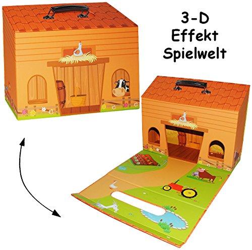 alles-meine.de GmbH Kinderkoffer -  Bauernhof / Stall  - zum Spielen - Pappkoffer - Puppenkoffer Koffer Kinder - Pappe Karton - Spielekoffer - groß - ideal für Spielzeug und al..