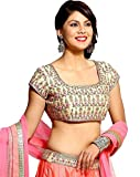Krisha Creations Womens All Festival To Design Womens Taffeta Silk Lehenga And Banglory SilkBlouse Lehenga Choli (Style_lehengha_Peatch Color _Free Size)