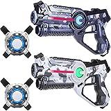 Light Battle Laserspiel: 2X Laserpistole 2X Laser Tag Weste - Laser Game Spiel für Kinder | Camo Grau + Camo Weiß | LBAPV22267